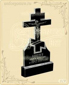 Памятник из гранита вертикальный прямой №019 с крестом и изображением Иисуса Христа