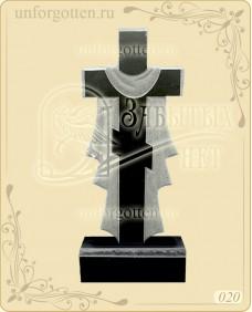 Памятник из гранита вертикальный №020 - прямой крест с полотном