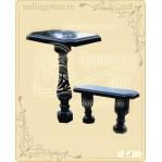 Литьевой мрамор,Стол + лавка №LA-026