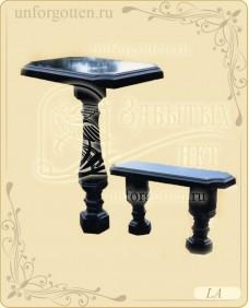 Литьевой мрамор,Стол+лавка №LA-026